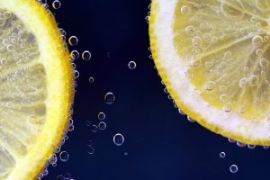 Two slices of lemon in water