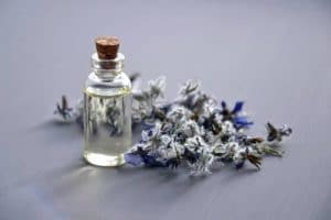 Lavender essential oil in a small bottle